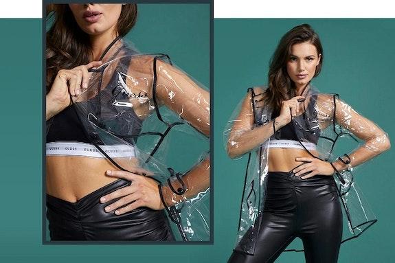 Transparentny płaszcz przeciwdeszczowy Guess gratis